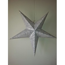5 Point Screen Printed Christmas X'mas Star -- 60 cms - White