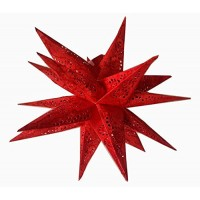 3D Multipoint Spiral Embroidered Christmas X'mas Star -- 40 cms - Red
