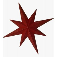 8 Point (Miniature Stars Golden Foil Printed) Christmas X'mas Star -- 80 cms - Red