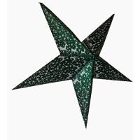 5 Point Zari Printed Glittering Christmas X'mas Star -- 60 cms - Green