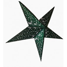 5 Point Zari Printed Glittering Christmas X'mas Star -- 60 cms - Green