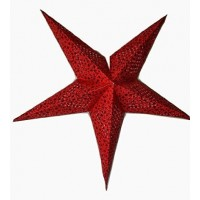5 Point (Miniature Stars Foil Printed) Christmas X'mas Star -- 60 cms - Red