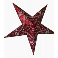5 Point Zari Printed Glittering Christmas X'mas Star -- 80 cms - Red